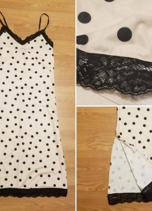 Zara платье в горох платье в бельевом стиле с кружевом