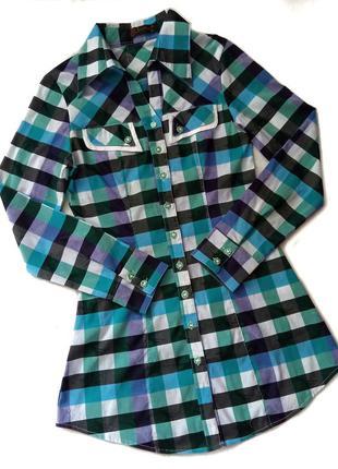 Клетчатая удлиненная рубашка, блузка, блуза, сорочка