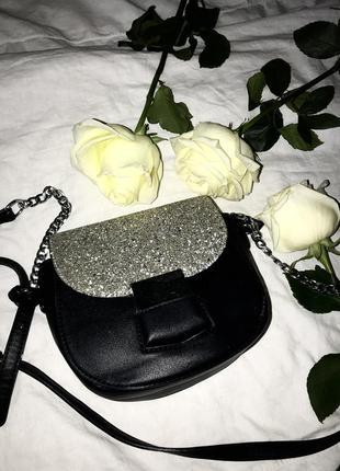 Сумка сумочка блеск серебро кросбоди маленькая клатч