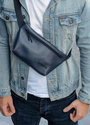 Кожаная бананка, кожаная мужская сумка через плечо, сумка оригинал