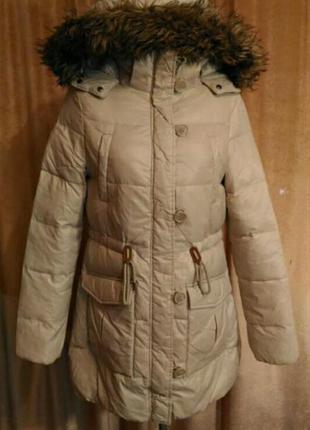 Пудровый пуховик clockhouse куртка парка пальто, германия размер l