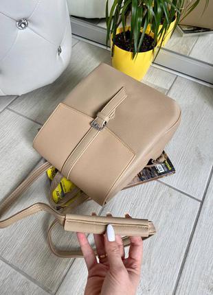 Крутой рюкзак-сумка-планшет цвет бежевый хаки стайл