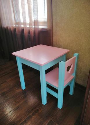 Стол и стул из дерева детский