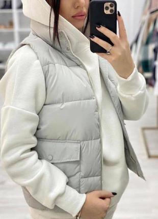 Серая жилетка теплая сірий жилет