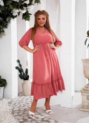 Женское платье миди на кулиске