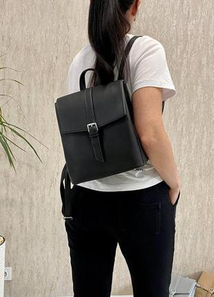 Стильный черный рюкзак-сумка-планшет на 3 отдела эко кожа