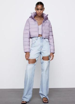 Короткая водорнепроницаемая куртка пуфер zara  m