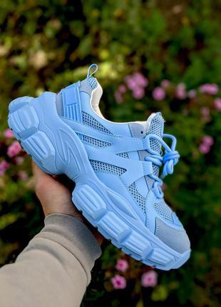 Женские голубые кроссовки осень качественные замш кожа