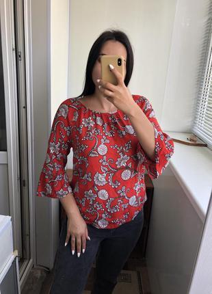 Красная блузка блуза вискоза