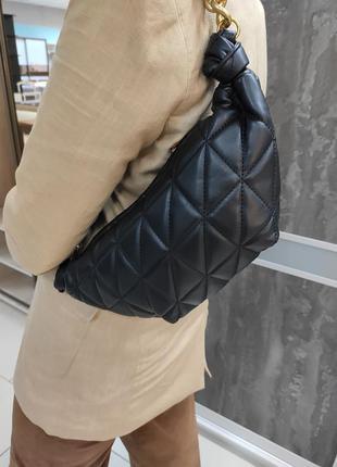 Чёрная сумка в стиле zara / сумка / мини-сумка / zara / сумка-круасан / круасан