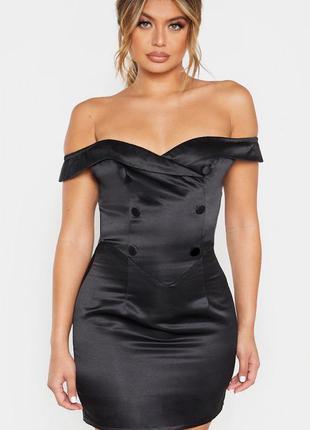 Чёрное мини платье со спущенными плечами бренда littleprettything размер 32 xxs