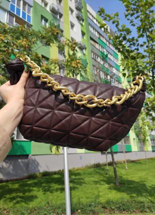 Коричневая сумка в стиле zara / сумка / мини-сумка / zara / сумка-круасан / круасан