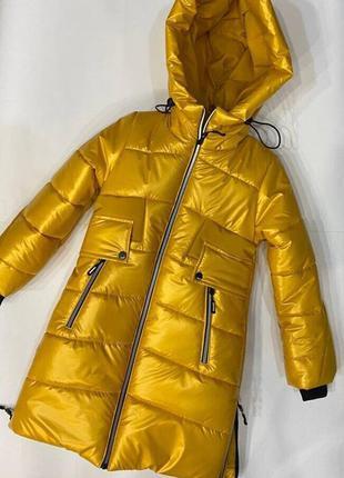 Удлиненная зимняя куртка для девочек 34-42