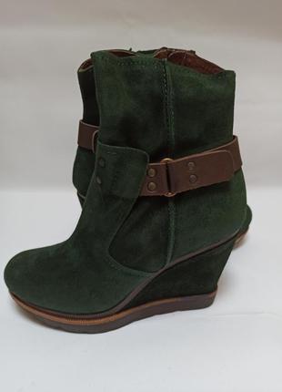 Полусапоги zalando зелёные,замша.брендове взуття stock