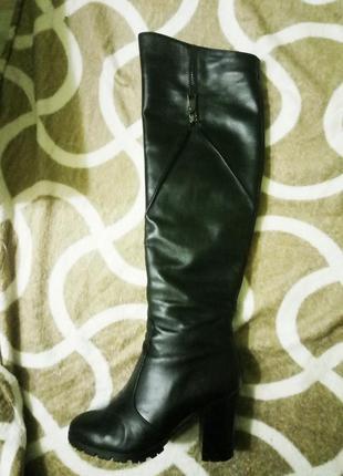 Кожаные ботфорты