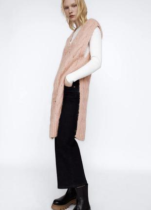 Нежно розовый вязанный удлиненный жилет жилетка зара zara