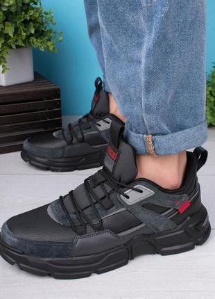 Мужские черно-серые кроссовки на шнуровке