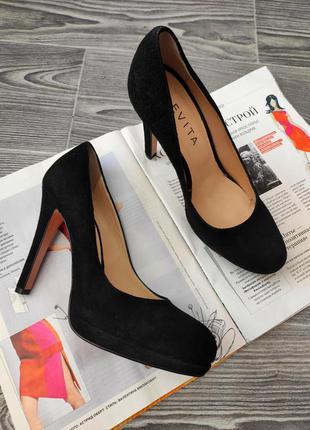 Туфли черные на высоком каблуке замша итальянские ручная работа evita 37