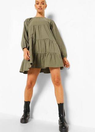 Новое ярусное платье с длинным рукавом джинс хаки деним тренд актуальное