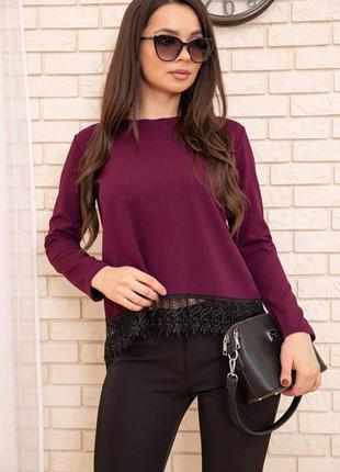Бордовая женская блуза с длинными рукавами