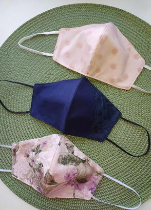 Красивая ажурная маска, многоразовая с декором нарядная