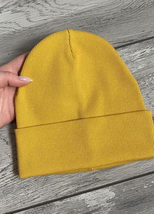Базова шапка в рубчик бавовна