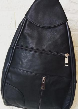 Рюкзак женский кожаный прогулочный для мам сумка-рюкзак черный
