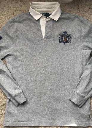 Сірий світшот в стилі регбі з логотипом  polo ralph lauren
