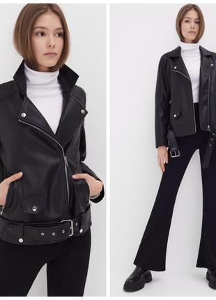 Новая стильная байкерская куртка косуха с поясом