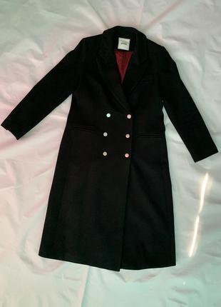 Двубортное пальто, длинное чёрное пальто, шерстяное пальто, актуальное пальто