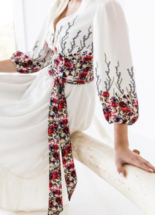 Платье женское миди, белое, цветочный принт, нарядное, р 42, 44, 46, хс ,с, м