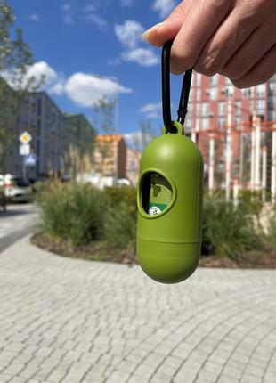 Кейс з пакетиками для прибирання за тваринами green walker