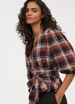Блузка рубашка на запахе с пышным рукавом