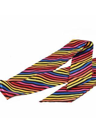 Яркий длинный радужный атласный галстук шарф шарфик c&a