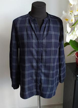 Теплая клетчатая рубашка блуза от mussimo dutti из шерсти мериноса
