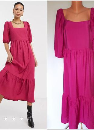 Платье макси ярусное с квадратным вырезом цвета фуксии малины (размер 12-14)
