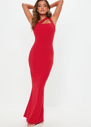 Нарядное красное макси платье с вариацей шлеек