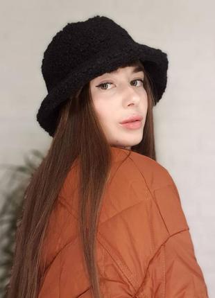 13-49 стильная теплая панама панамка двухсторонняя шляпа плюшевая мягкая тедди
