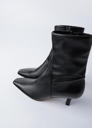 Мягкие кожаные ботильоны ботинки с квадратным носом zara