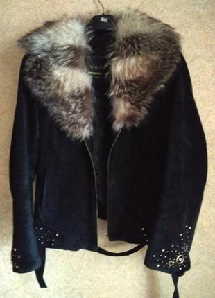 Куртка-дублёнка-пиджак замша с мехом