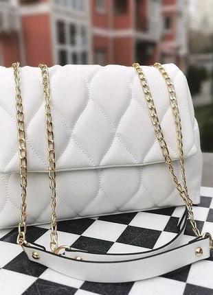 Белая базовая сумка кожзам кросс боди стёганая