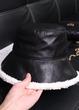 13-293 модная стильная теплая панама панамка шляпа эко кожа