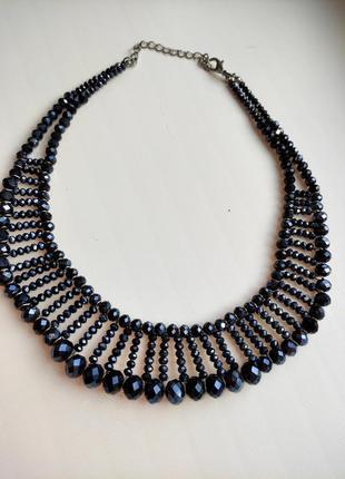Шикарное ожерелье с синим хрусталём подвеска с синими камнями