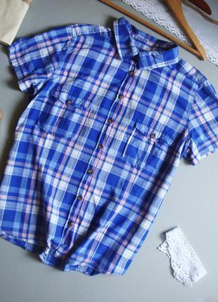 Мягкая натуральная рубашка с коротким рукавом l m xl