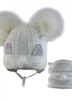 Красивеный комплект шапка хомут