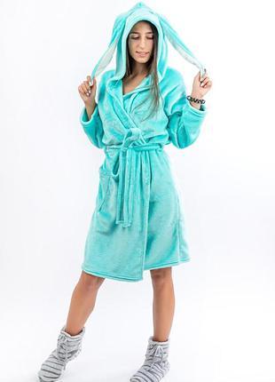Теплый халат для подростков с ушками