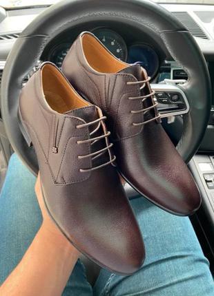 Мужские туфли кожаные весна/осень коричневые