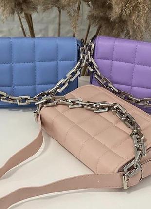 Женская сумка кожзам кросс боди стёганая с цепочкой в цвете пудра