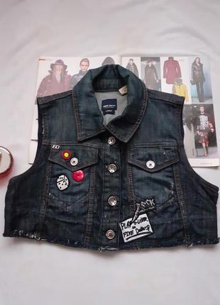 Брендовая джинсовая жилетка miss sixty