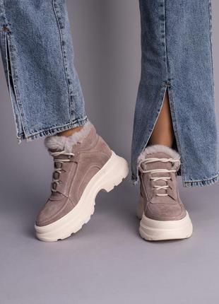 Замшевые ботинки с мехом